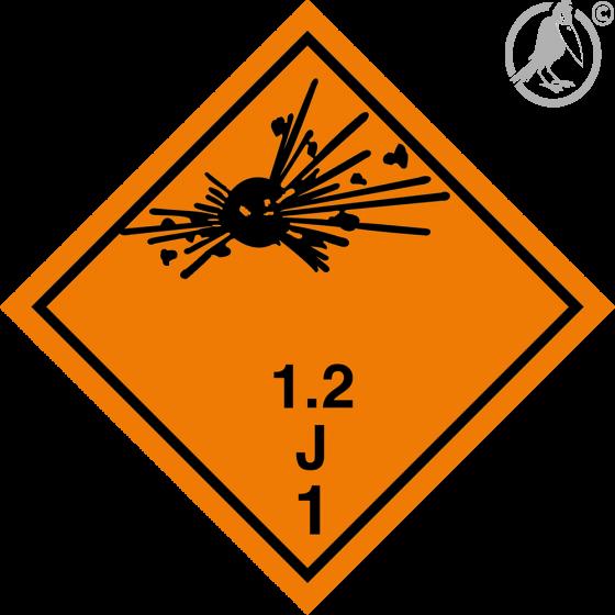 Gefahrgutaufkleber Klasse 1.2J