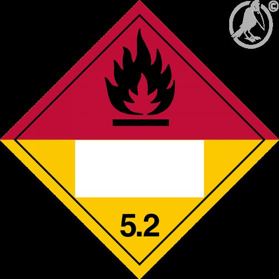 Gefahrgutaufkleber Klasse 5.2 ORGANIC PEROXIDE mit Eindruck - 300 x 300 mm